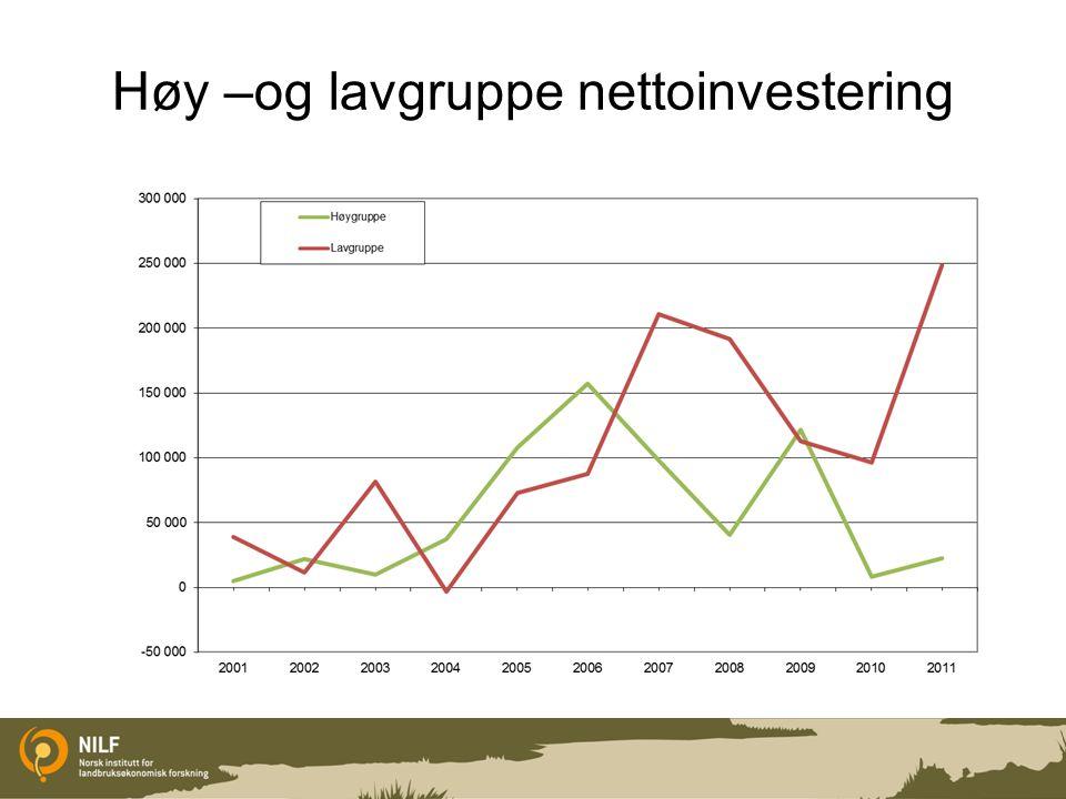 Høy –og lavgruppe nettoinvestering