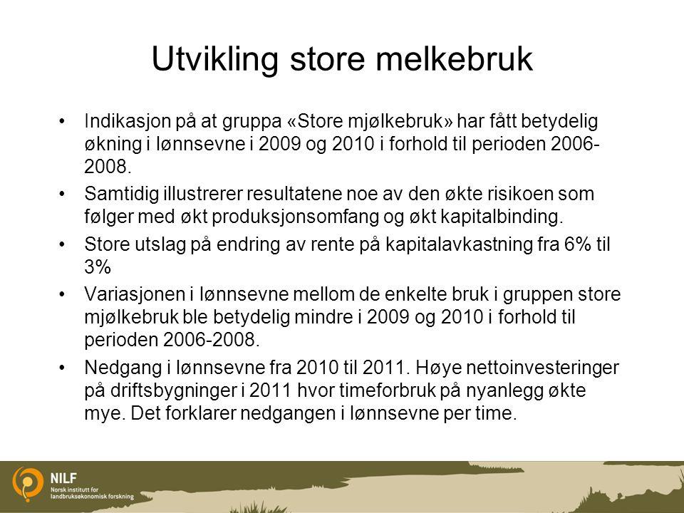 Utvikling store melkebruk Indikasjon på at gruppa «Store mjølkebruk» har fått betydelig økning i lønnsevne i 2009 og 2010 i forhold til perioden 2006-