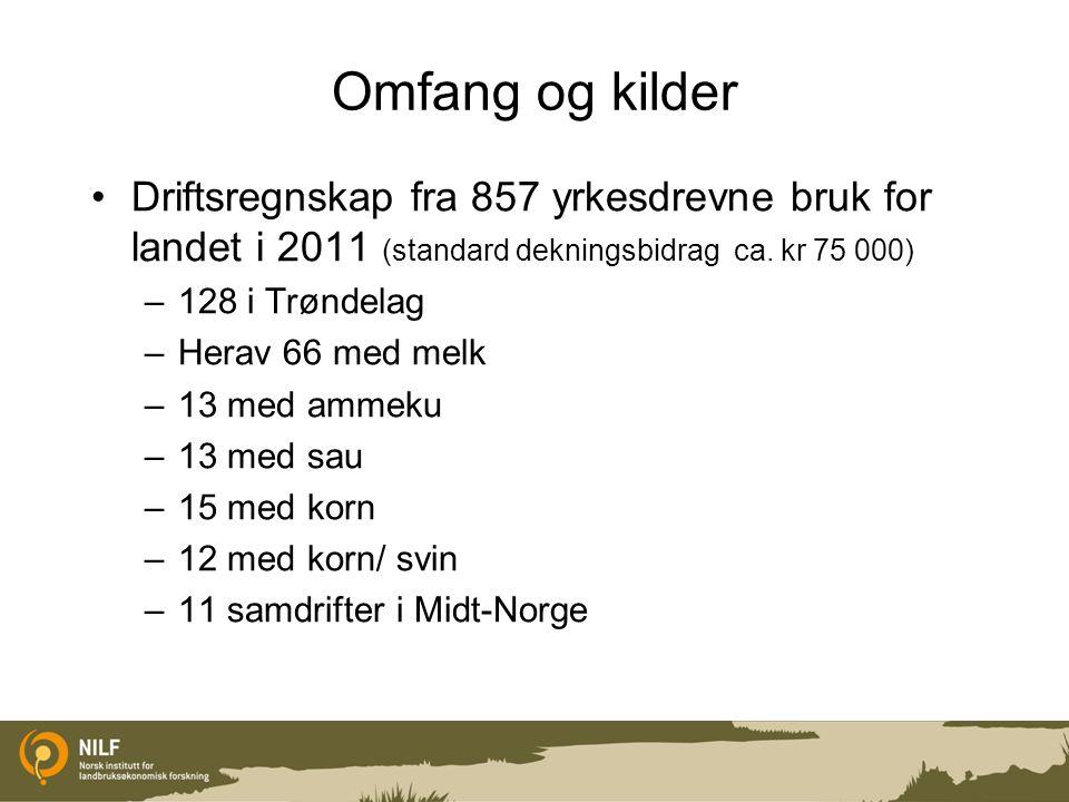 Omfang og kilder Driftsregnskap fra 857 yrkesdrevne bruk for landet i 2011 (standard dekningsbidrag ca. kr 75 000) –128 i Trøndelag –Herav 66 med melk