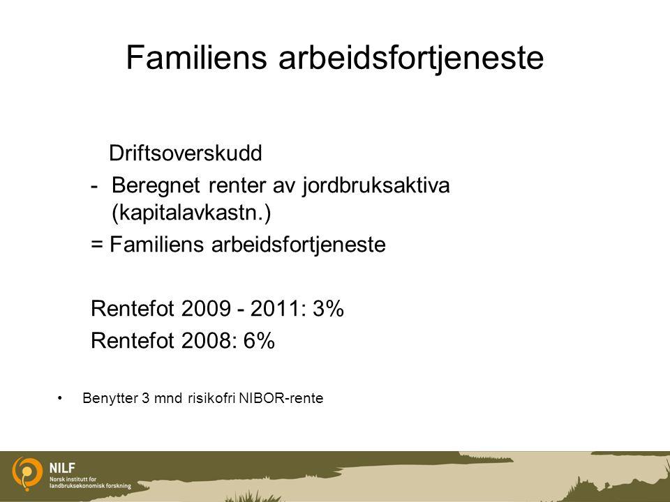 Familiens arbeidsfortjeneste Driftsoverskudd -Beregnet renter av jordbruksaktiva (kapitalavkastn.) = Familiens arbeidsfortjeneste Rentefot 2009 - 2011