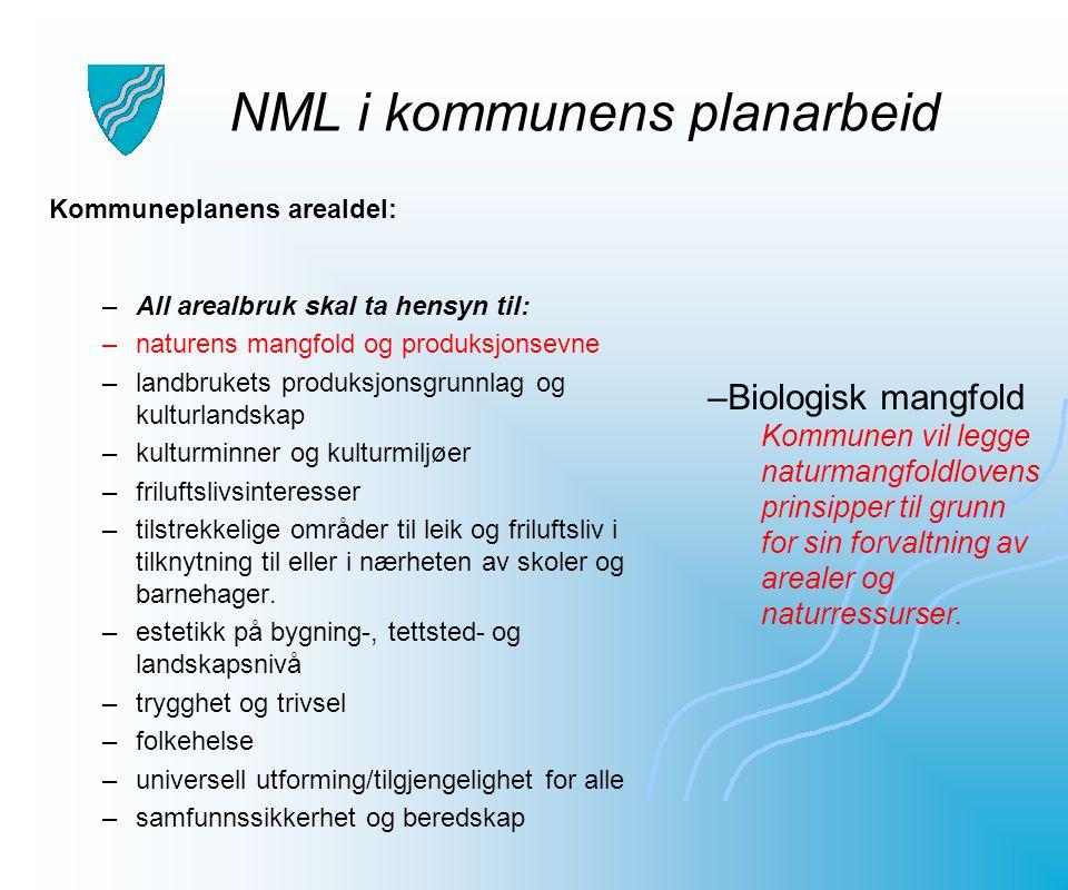 NML i kommunens planarbeid Kommuneplanens arealdel: –All arealbruk skal ta hensyn til: –naturens mangfold og produksjonsevne –landbrukets produksjonsg