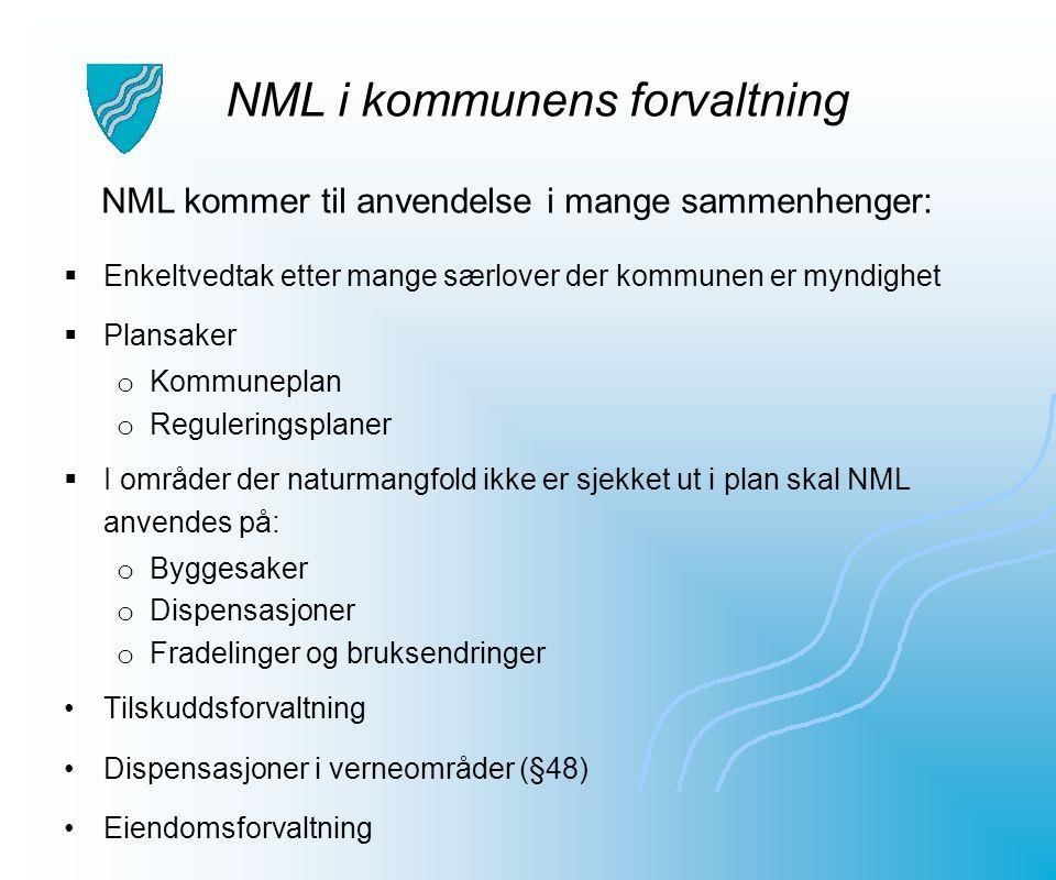 NML i kommunens forvaltning  Enkeltvedtak etter mange særlover der kommunen er myndighet  Plansaker o Kommuneplan o Reguleringsplaner  I områder de