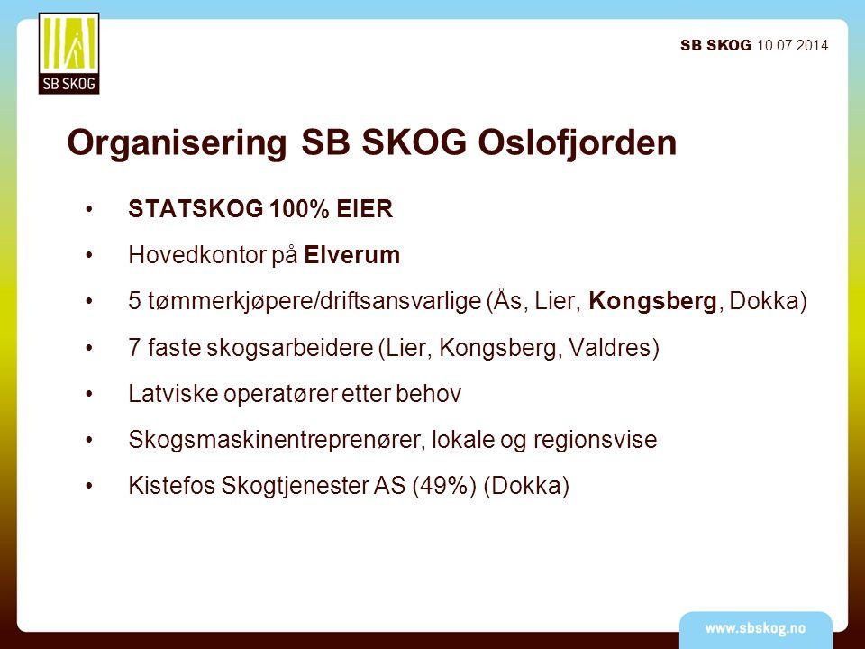 Organisering SB SKOG Oslofjorden STATSKOG 100% EIER Hovedkontor på Elverum 5 tømmerkjøpere/driftsansvarlige (Ås, Lier, Kongsberg, Dokka) 7 faste skogsarbeidere (Lier, Kongsberg, Valdres) Latviske operatører etter behov Skogsmaskinentreprenører, lokale og regionsvise Kistefos Skogtjenester AS (49%) (Dokka) SB SKOG 10.07.2014