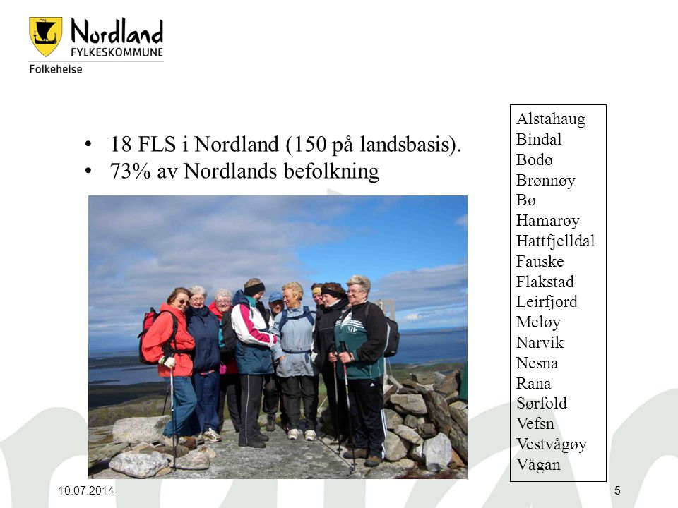 10.07.20145 18 FLS i Nordland (150 på landsbasis). 73% av Nordlands befolkning Alstahaug Bindal Bodø Brønnøy Bø Hamarøy Hattfjelldal Fauske Flakstad L