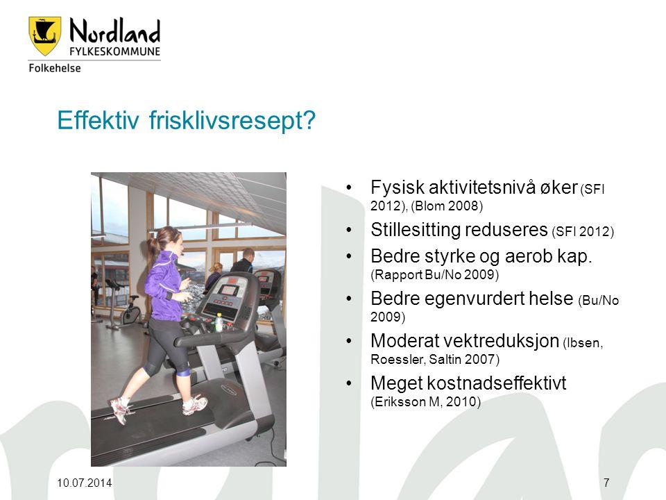 Effektiv frisklivsresept? Fysisk aktivitetsnivå øker (SFI 2012), (Blom 2008) Stillesitting reduseres (SFI 2012) Bedre styrke og aerob kap. (Rapport Bu