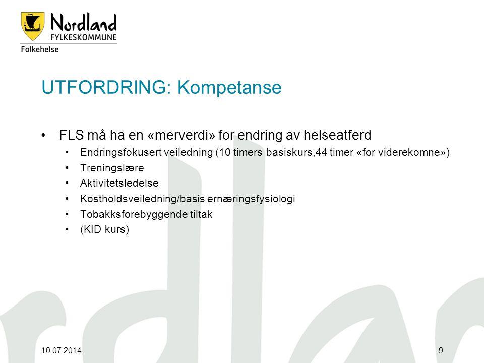 UTFORDRING: Kompetanse FLS må ha en «merverdi» for endring av helseatferd Endringsfokusert veiledning (10 timers basiskurs,44 timer «for viderekomne»)