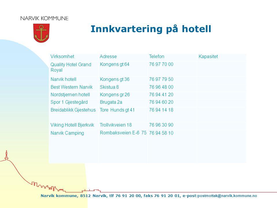 Narvik kommune, 8512 Narvik, tlf 76 91 20 00, faks 76 91 20 01, e-post: postmottak@narvik.kommune.no Innkvartering på hotell VirksomhetAdresseTelefonK