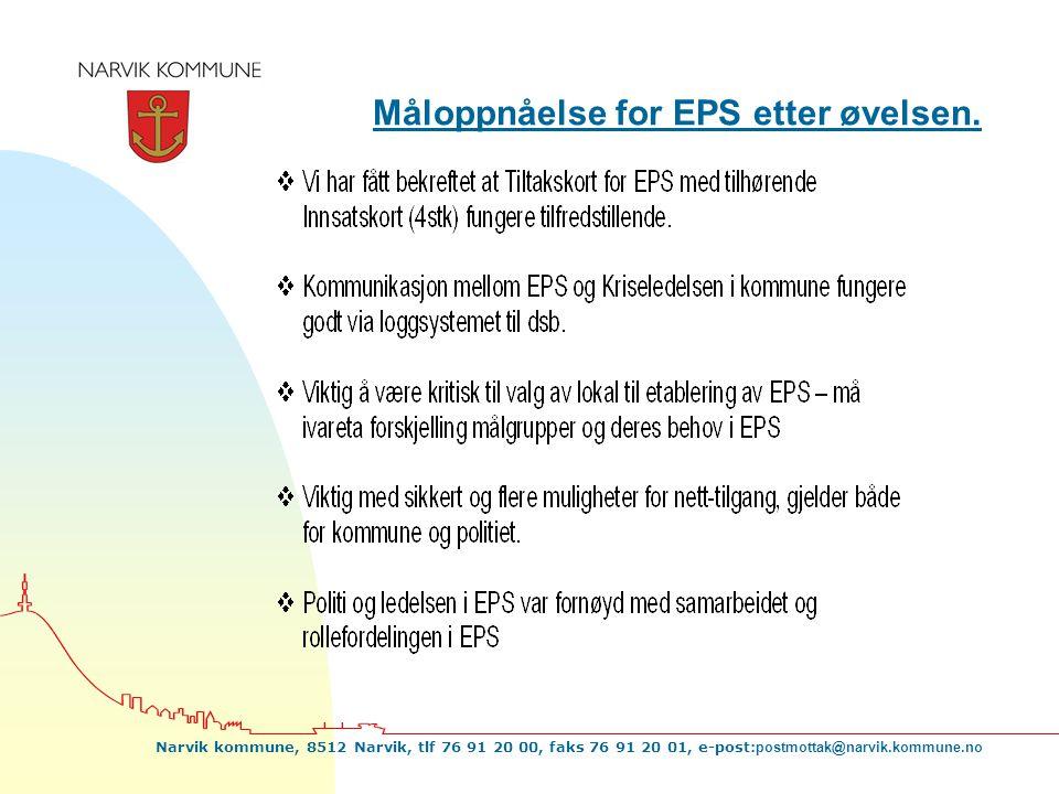 Narvik kommune, 8512 Narvik, tlf 76 91 20 00, faks 76 91 20 01, e-post: postmottak@narvik.kommune.no Måloppnåelse for EPS etter øvelsen.