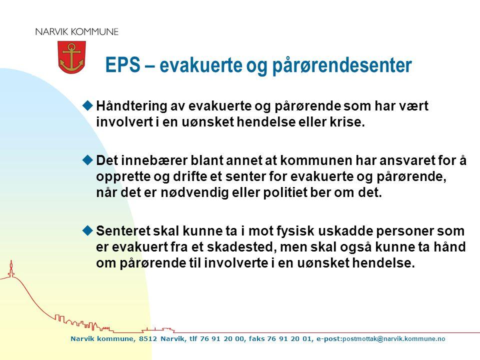 Narvik kommune, 8512 Narvik, tlf 76 91 20 00, faks 76 91 20 01, e-post: postmottak@narvik.kommune.no EPS – evakuerte og pårørendesenter uHåndtering av