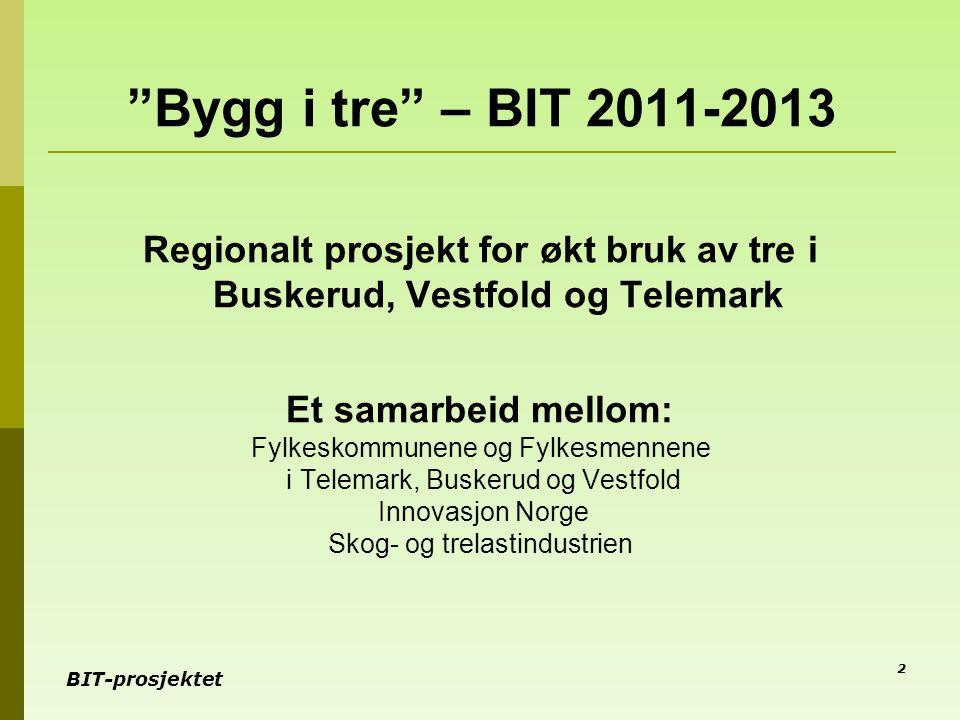 """BIT-prosjektet """"Bygg i tre"""" – BIT 2011-2013 Regionalt prosjekt for økt bruk av tre i Buskerud, Vestfold og Telemark Et samarbeid mellom: Fylkeskommune"""