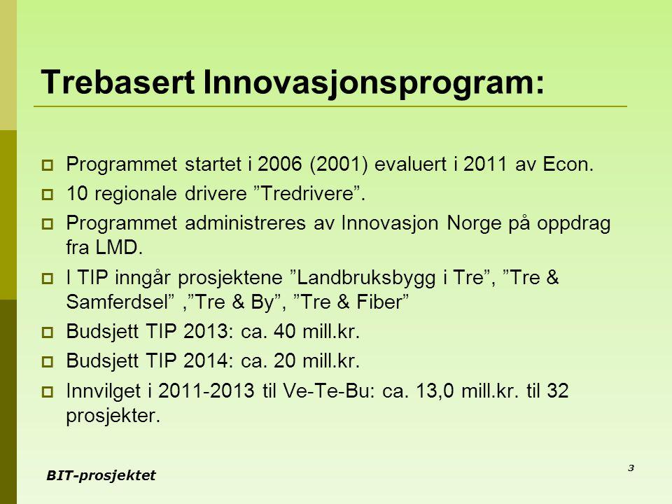 """BIT-prosjektet Trebasert Innovasjonsprogram:  Programmet startet i 2006 (2001) evaluert i 2011 av Econ.  10 regionale drivere """"Tredrivere"""".  Progra"""