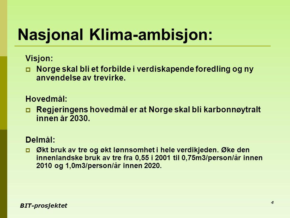 BIT-prosjektet 4 Nasjonal Klima-ambisjon: Visjon:  Norge skal bli et forbilde i verdiskapende foredling og ny anvendelse av trevirke. Hovedmål:  Reg