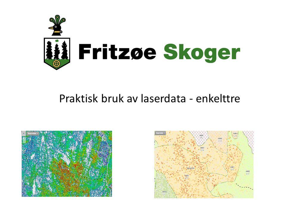 Lasertakst med enkelttremodell Flyving gjennomført i Lardal i 2009, levert 2011 av Foran 10 pulser per kvadrat Etablert et eget prosjekt: FMVE-Lardal kommune-Viken Skog-Fritzøe Skoger -> hvordan utnytte dataene best mulig.