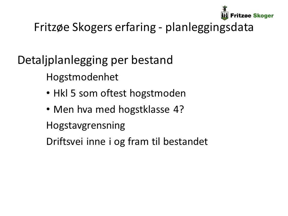Fritzøe Skogers erfaring - planleggingsdata Detaljplanlegging per bestand Hogstmodenhet Hkl 5 som oftest hogstmoden Men hva med hogstklasse 4? Hogstav