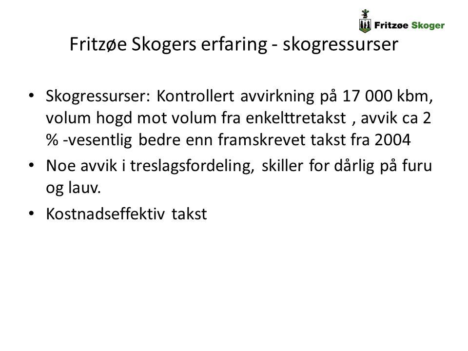 Fritzøe Skogers erfaring - skogressurser Skogressurser: Kontrollert avvirkning på 17 000 kbm, volum hogd mot volum fra enkelttretakst, avvik ca 2 % -v