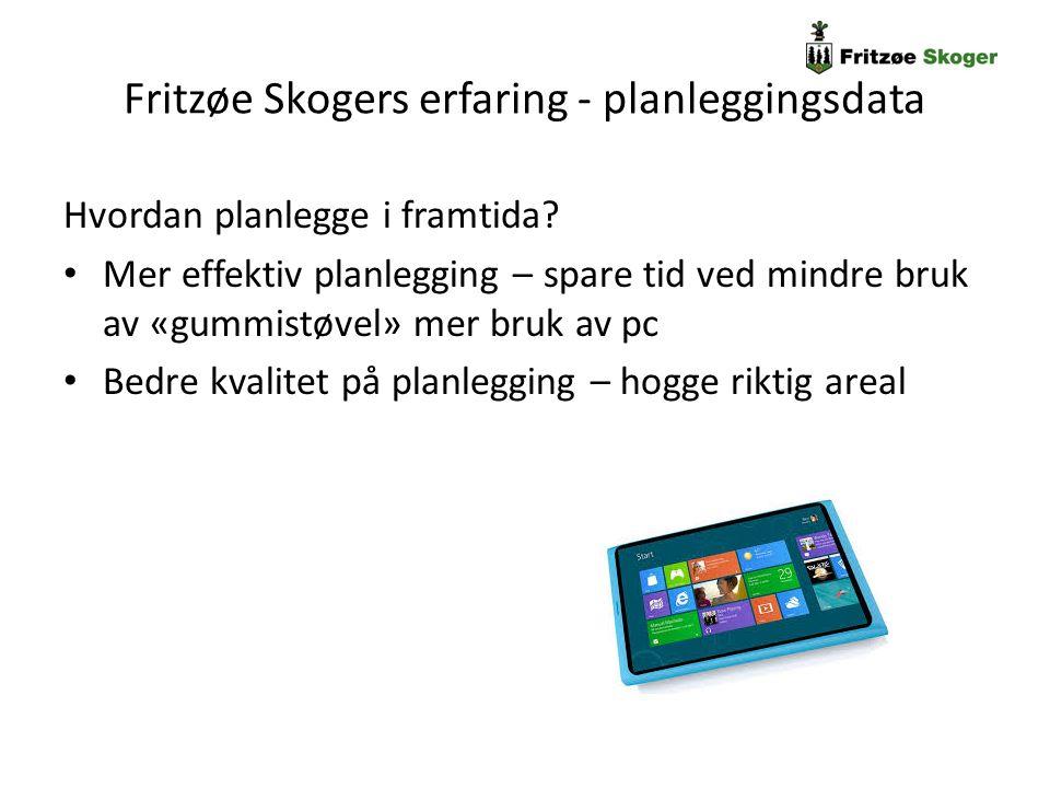 Fritzøe Skogers erfaring - planleggingsdata Oversikt over området: FS planlegger sluttavvirkning langs veisystemer, alle hogstklasse 4 og 5 vurderes – lister fra Linnea over aktuelle bestand.