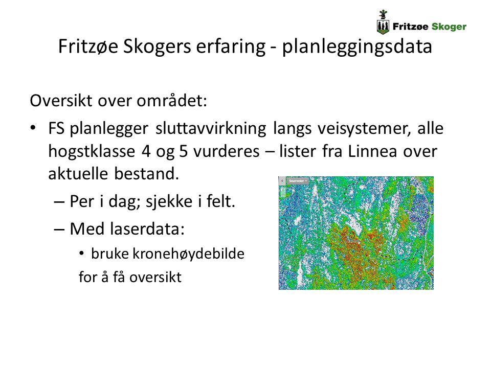 Fritzøe Skogers erfaring - planleggingsdata Oversikt over området: FS planlegger sluttavvirkning langs veisystemer, alle hogstklasse 4 og 5 vurderes –