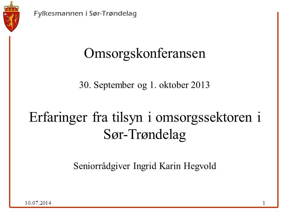 10.07.201422 Fylkesmannen i Sør-Trøndelag Florence Nightingale (1820-1910) «The ultimate goal is to manage quality.