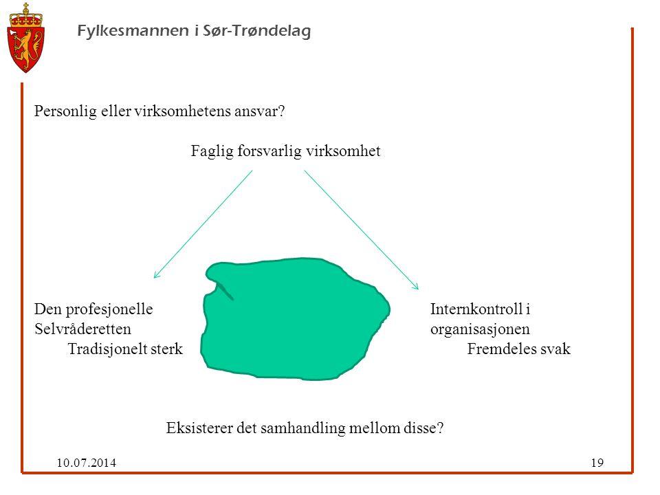 10.07.201419 Fylkesmannen i Sør-Trøndelag Personlig eller virksomhetens ansvar.