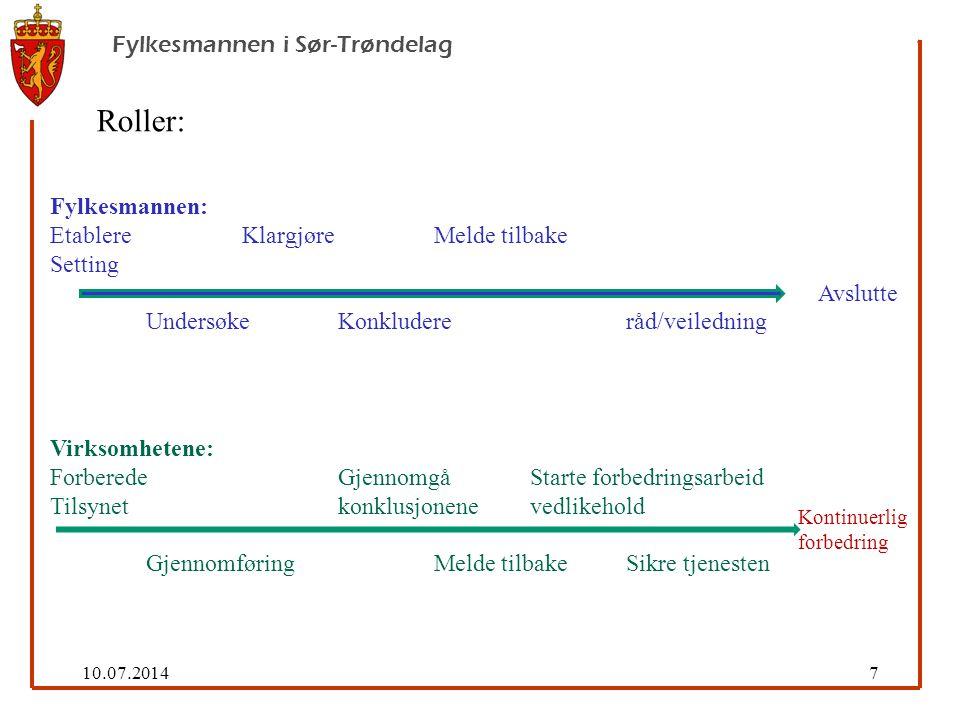 10.07.20148 Fylkesmannen i Sør-Trøndelag 1.Velge tilsynstema - ut fra kunnskap om tjenestene 2.Velge virksomhet – ut fra div.
