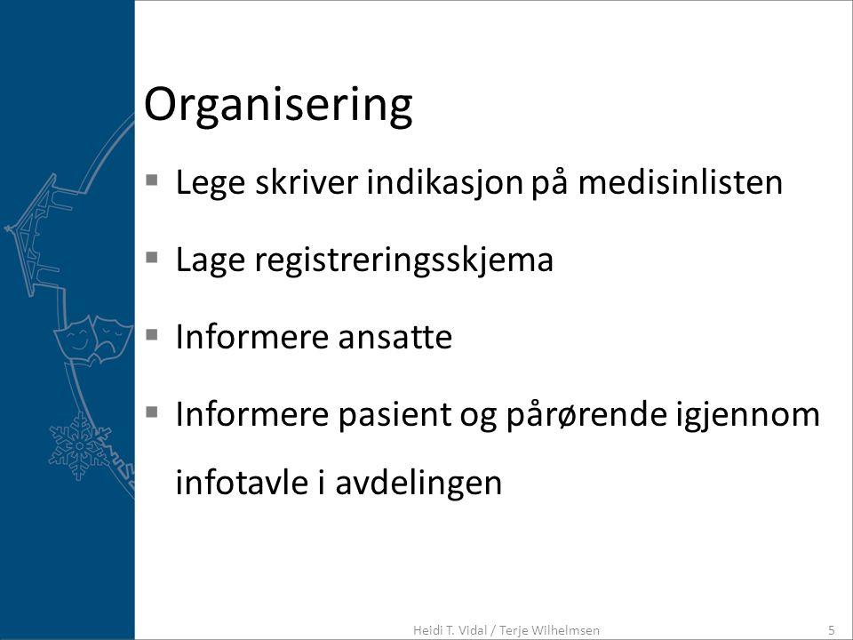 Organisering  Lege skriver indikasjon på medisinlisten  Lage registreringsskjema  Informere ansatte  Informere pasient og pårørende igjennom infot