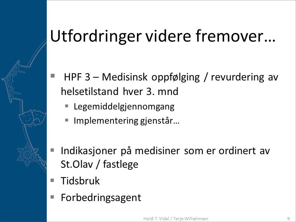 Utfordringer videre fremover…  HPF 3 – Medisinsk oppfølging / revurdering av helsetilstand hver 3. mnd  Legemiddelgjennomgang  Implementering gjens