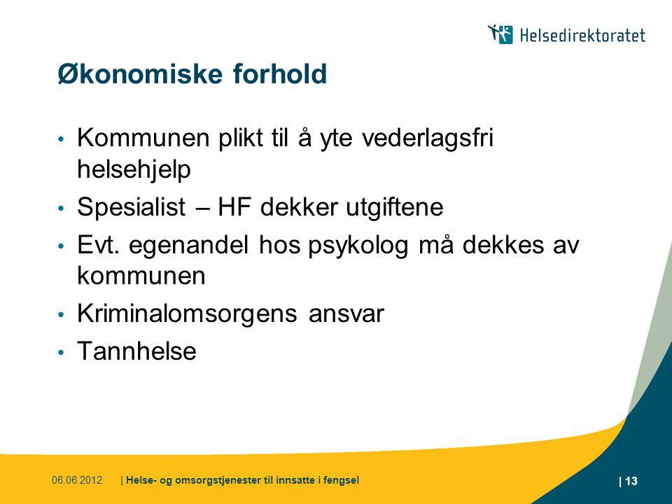 Økonomiske forhold Kommunen plikt til å yte vederlagsfri helsehjelp Spesialist – HF dekker utgiftene Evt. egenandel hos psykolog må dekkes av kommunen