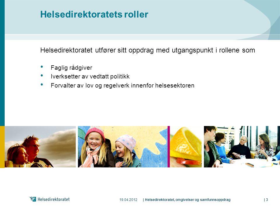 19.04.2012| Helsedirektoratet, omgivelser og samfunnsoppdrag| 3 Helsedirektoratets roller Helsedirektoratet utfører sitt oppdrag med utgangspunkt i ro