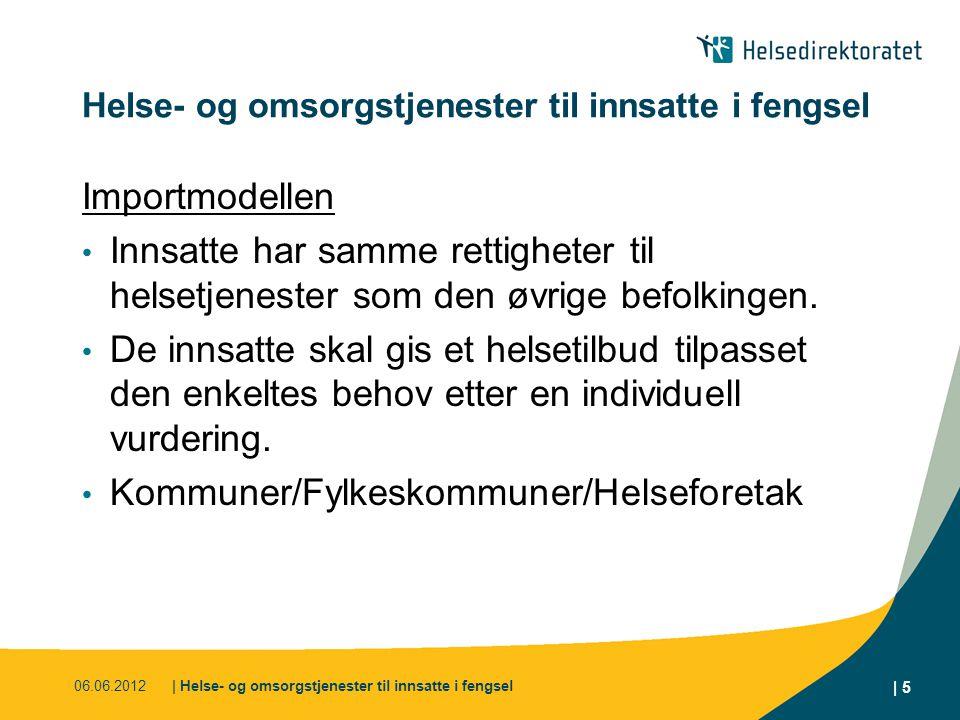 06.06.2012| Helse- og omsorgstjenester til innsatte i fengsel | 5 Helse- og omsorgstjenester til innsatte i fengsel Importmodellen Innsatte har samme