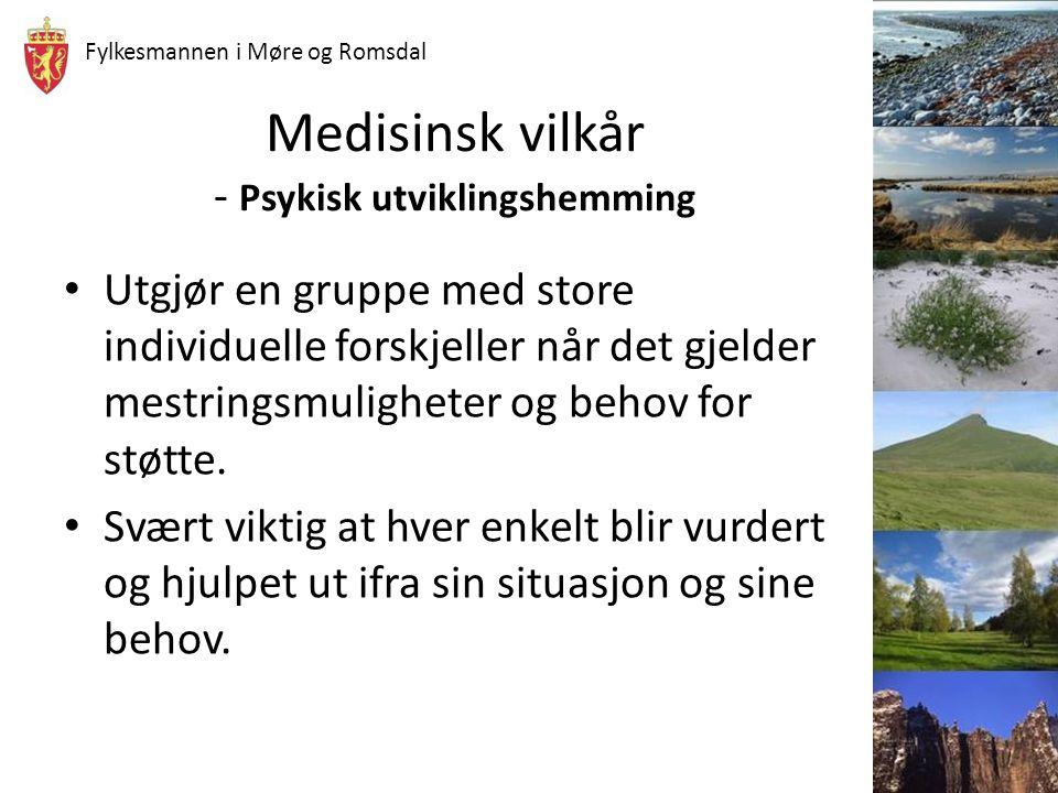 Fylkesmannen i Møre og Romsdal Medisinsk vilkår - Psykisk utviklingshemming Utgjør en gruppe med store individuelle forskjeller når det gjelder mestri