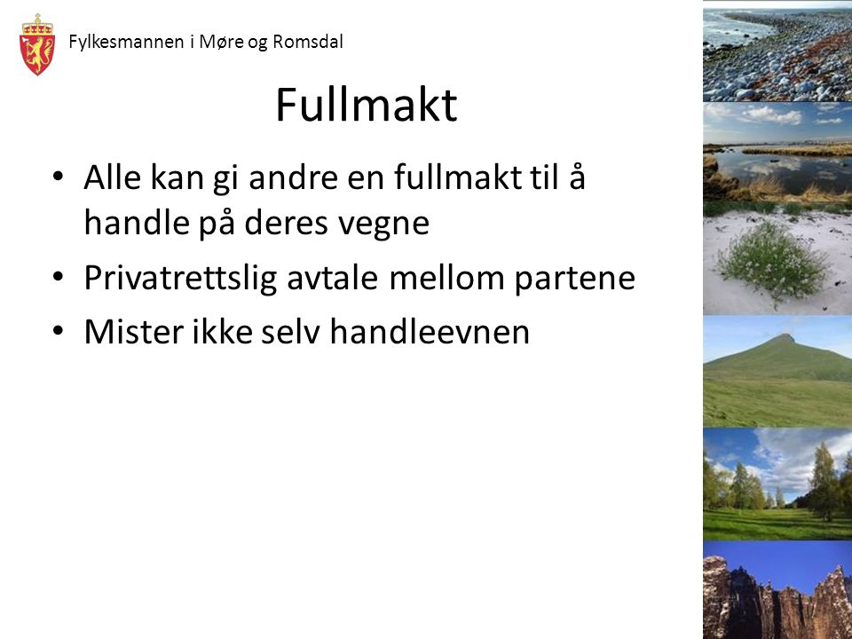 Fylkesmannen i Møre og Romsdal Fullmakt Alle kan gi andre en fullmakt til å handle på deres vegne Privatrettslig avtale mellom partene Mister ikke sel