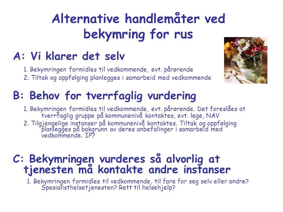 Alternative handlemåter ved bekymring for rus A: Vi klarer det selv 1. Bekymringen formidles til vedkommende, evt. pårørende 2. Tiltak og oppfølging p