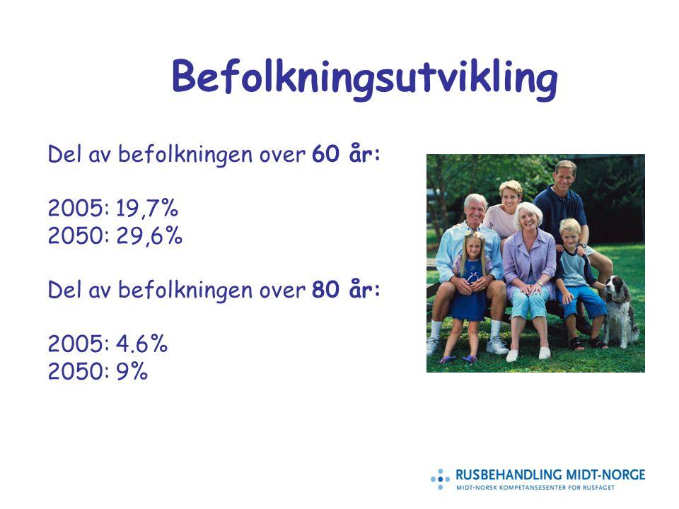 2 Befolkningsutvikling Del av befolkningen over 60 år: 2005: 19,7% 2050: 29,6% Del av befolkningen over 80 år: 2005: 4.6% 2050: 9%