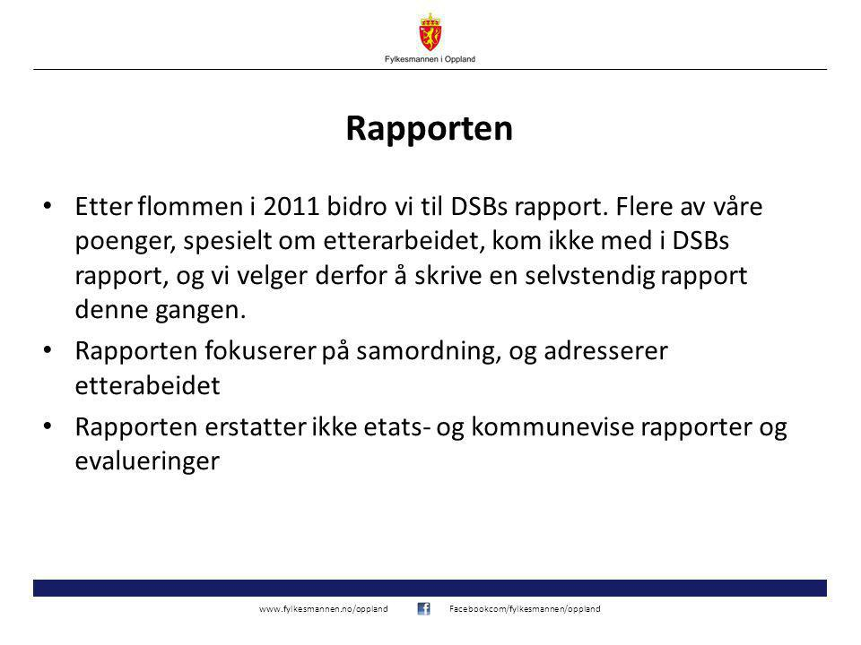 www.fylkesmannen.no/opplandFacebookcom/fylkesmannen/oppland Andre erfaringer (forts.) Det bør tildeles ressurser til, og legges til rette for, flere øvelser.