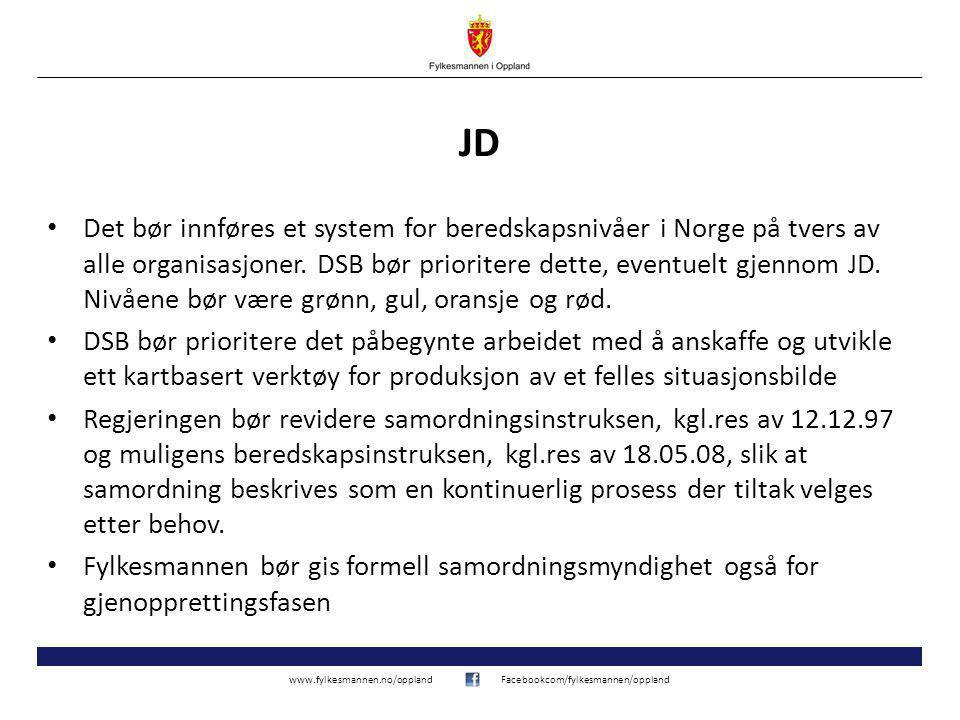 www.fylkesmannen.no/opplandFacebookcom/fylkesmannen/oppland Indikatorbasering Indikatorer bør utpekes og innarbeides i beredskapsplaner så sant det er praktisk mulig for å lette beslutningsprosessen i pressede situasjoner.