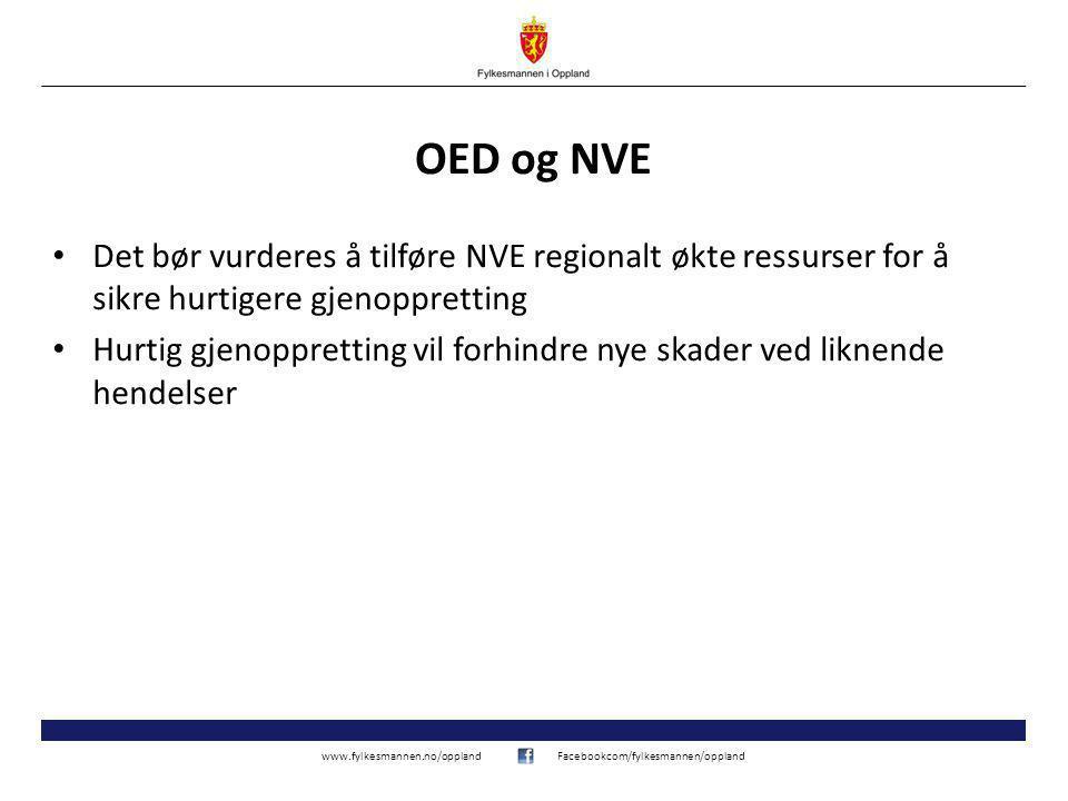 www.fylkesmannen.no/opplandFacebookcom/fylkesmannen/oppland OED og NVE Det bør vurderes å tilføre NVE regionalt økte ressurser for å sikre hurtigere gjenoppretting Hurtig gjenoppretting vil forhindre nye skader ved liknende hendelser