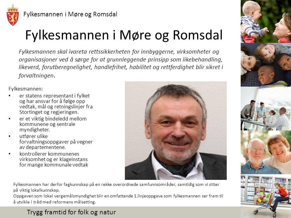 Fylkesmannen i Møre og Romsdal Trygg framtid for folk og natur Fylkesmannen i Møre og Romsdal Fylkesmannen: er statens representant i fylket og har an