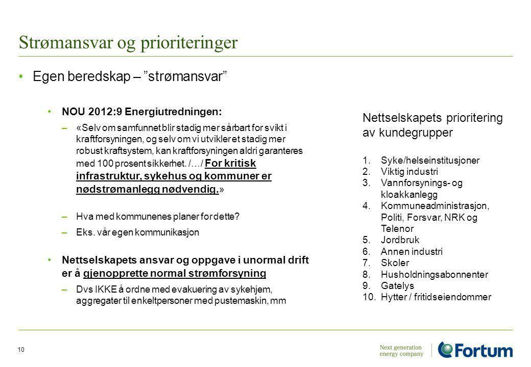 """Strømansvar og prioriteringer Egen beredskap – """"strømansvar"""" NOU 2012:9 Energiutredningen: –«Selv om samfunnet blir stadig mer sårbart for svikt i kra"""