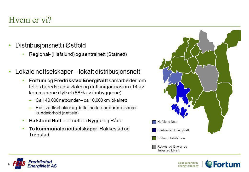 Hvem er vi? Distribusjonsnett i Østfold Regional- (Hafslund) og sentralnett (Statnett) Lokale nettselskaper – lokalt distribusjonsnett Fortum og Fredr