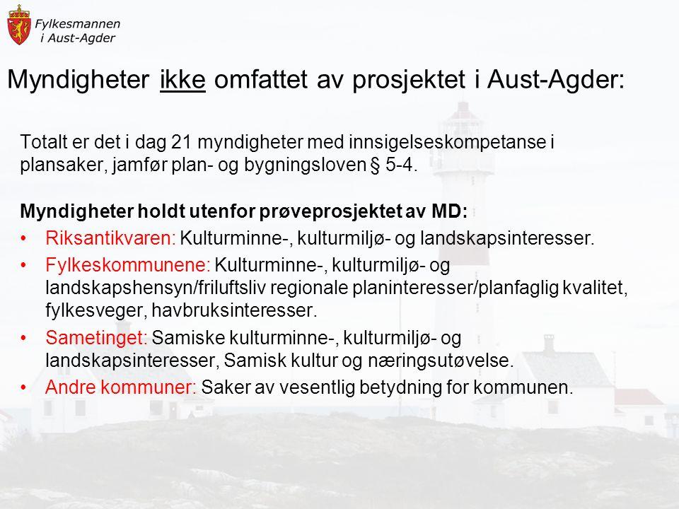Myndigheter ikke omfattet av prosjektet i Aust-Agder: Totalt er det i dag 21 myndigheter med innsigelseskompetanse i plansaker, jamfør plan- og bygnin