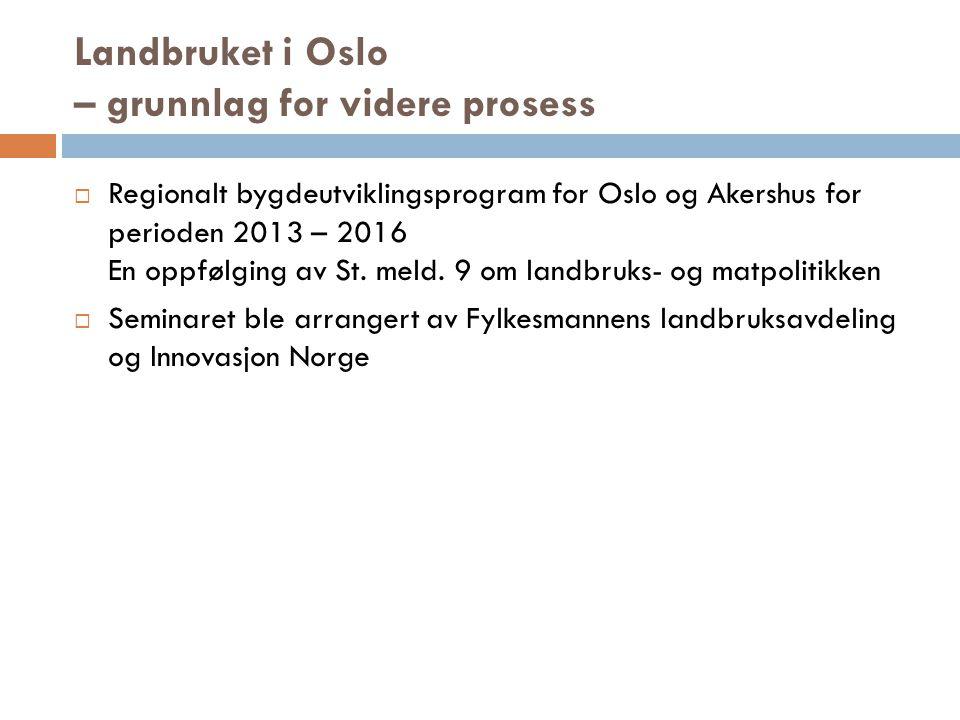 Landbruket i Oslo – grunnlag for videre prosess  Regionalt bygdeutviklingsprogram for Oslo og Akershus for perioden 2013 – 2016 En oppfølging av St.