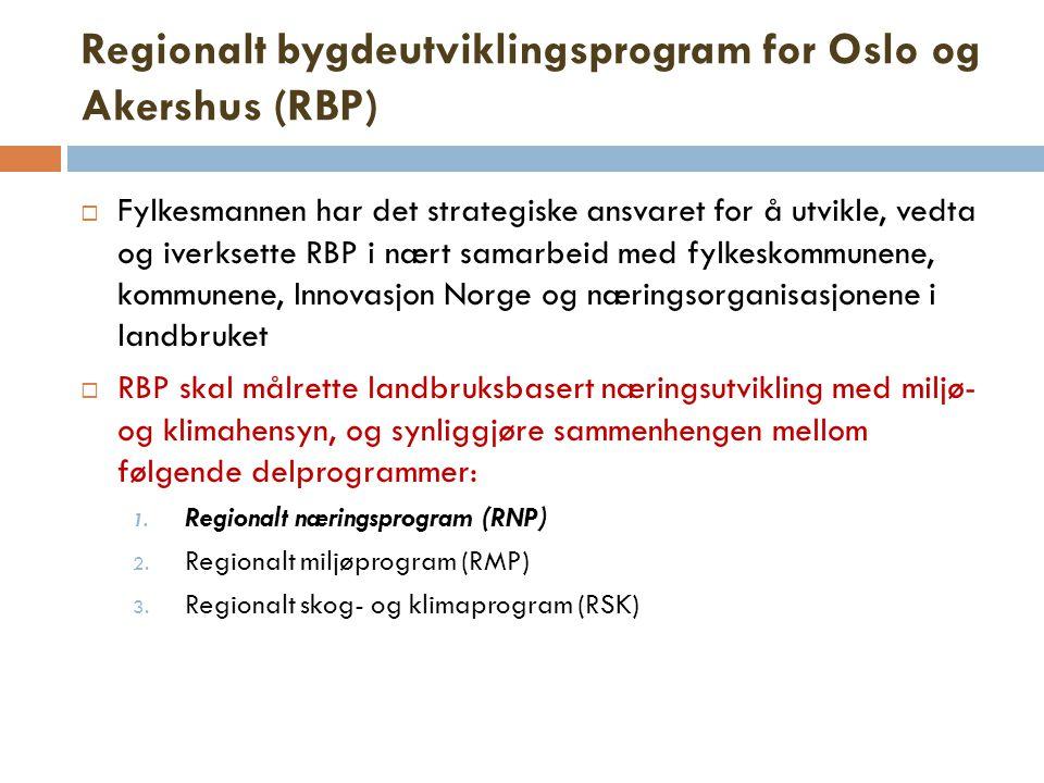 Regionalt bygdeutviklingsprogram for Oslo og Akershus (RBP)  Fylkesmannen har det strategiske ansvaret for å utvikle, vedta og iverksette RBP i nært samarbeid med fylkeskommunene, kommunene, Innovasjon Norge og næringsorganisasjonene i landbruket  RBP skal målrette landbruksbasert næringsutvikling med miljø- og klimahensyn, og synliggjøre sammenhengen mellom følgende delprogrammer: 1.