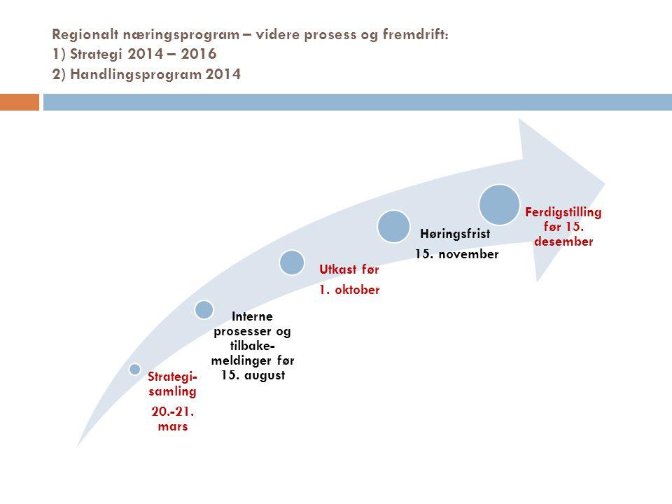 Regionalt næringsprogram – videre prosess og fremdrift: 1) Strategi 2014 – 2016 2) Handlingsprogram 2014 Strategi- samling 20.-21. mars Interne proses