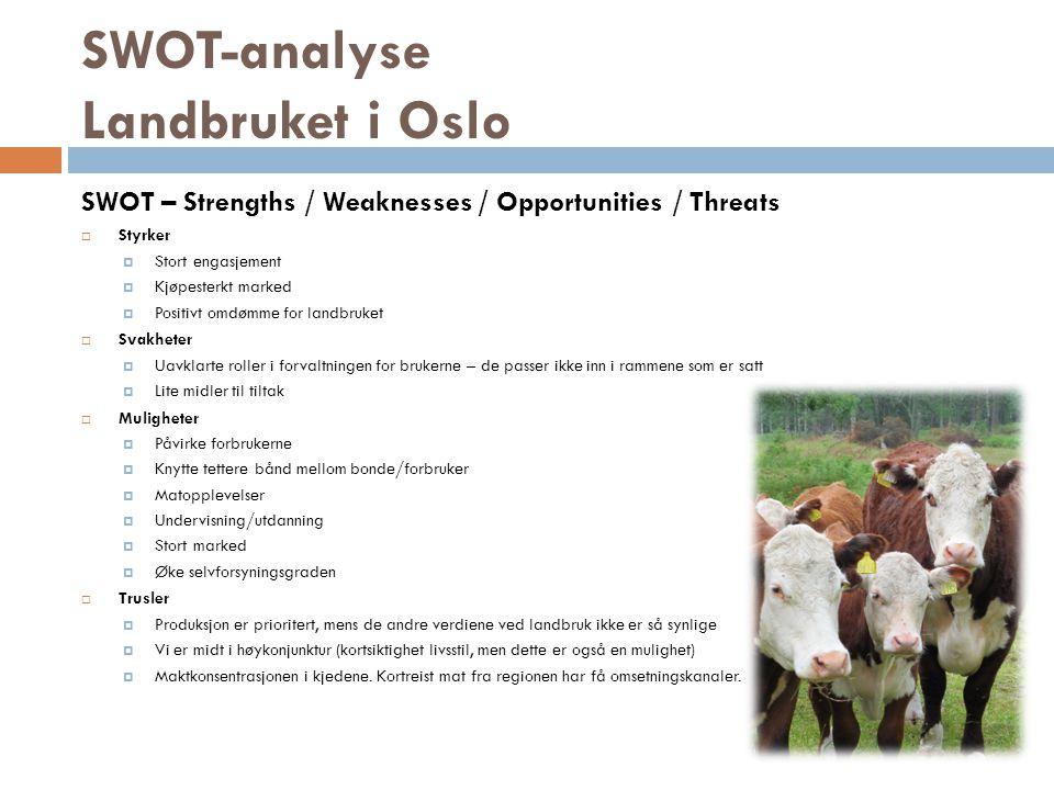 SWOT-analyse Landbruket i Oslo SWOT – Strengths / Weaknesses / Opportunities / Threats  Styrker  Stort engasjement  Kjøpesterkt marked  Positivt o
