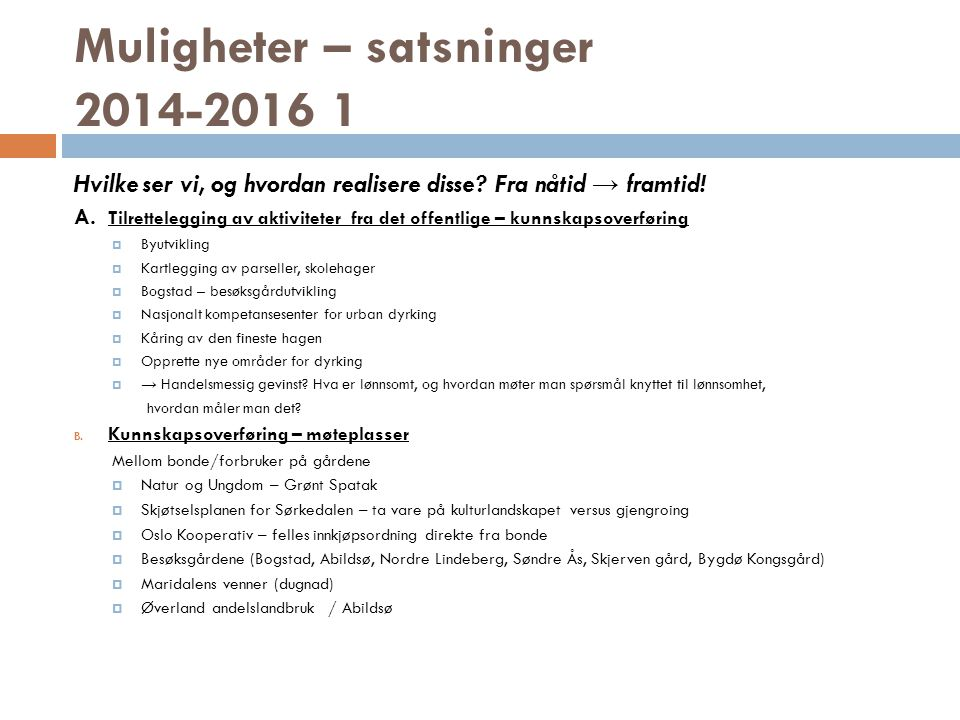 Muligheter – satsninger 2014-2016 1 Hvilke ser vi, og hvordan realisere disse.