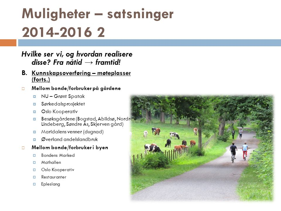 Muligheter – satsninger 2014-2016 2 Hvilke ser vi, og hvordan realisere disse.