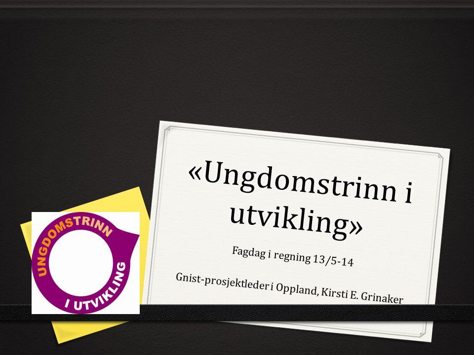 «Ungdomstrinn i utvikling» Fagdag i regning 13/5-14 Gnist-prosjektleder i Oppland, Kirsti E. Grinaker