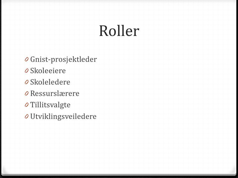 Roller 0 Gnist-prosjektleder 0 Skoleeiere 0 Skoleledere 0 Ressurslærere 0 Tillitsvalgte 0 Utviklingsveiledere