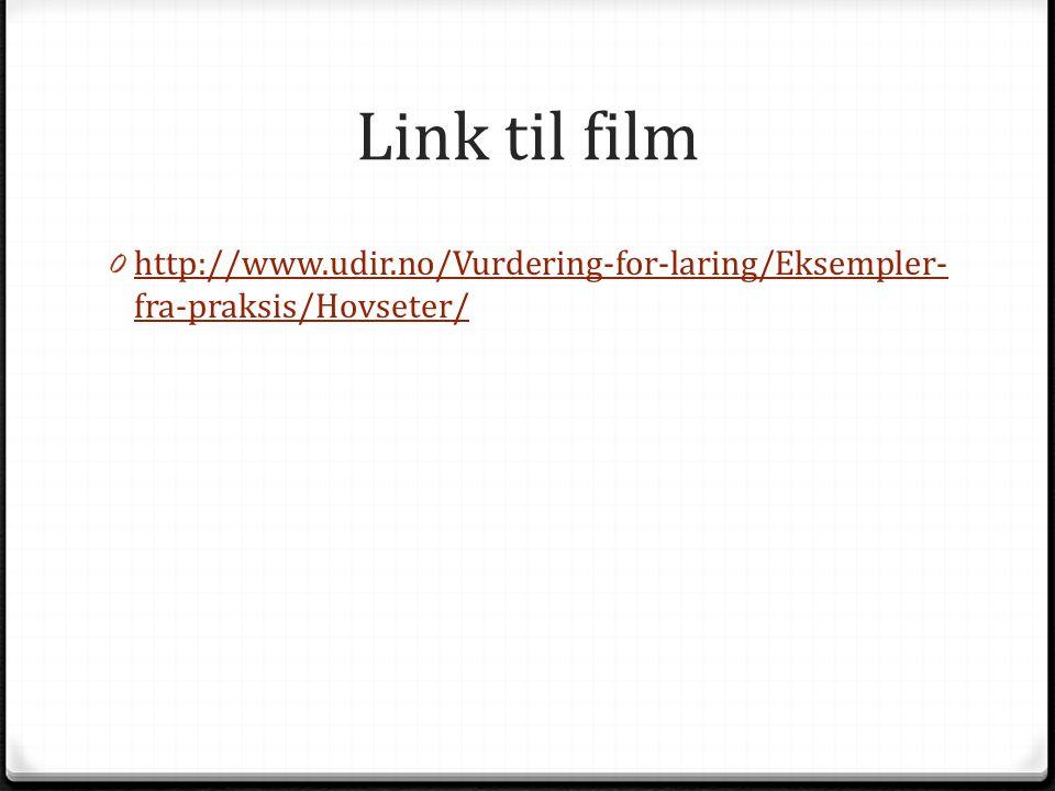 Link til film 0 http://www.udir.no/Vurdering-for-laring/Eksempler- fra-praksis/Hovseter/ http://www.udir.no/Vurdering-for-laring/Eksempler- fra-praksi
