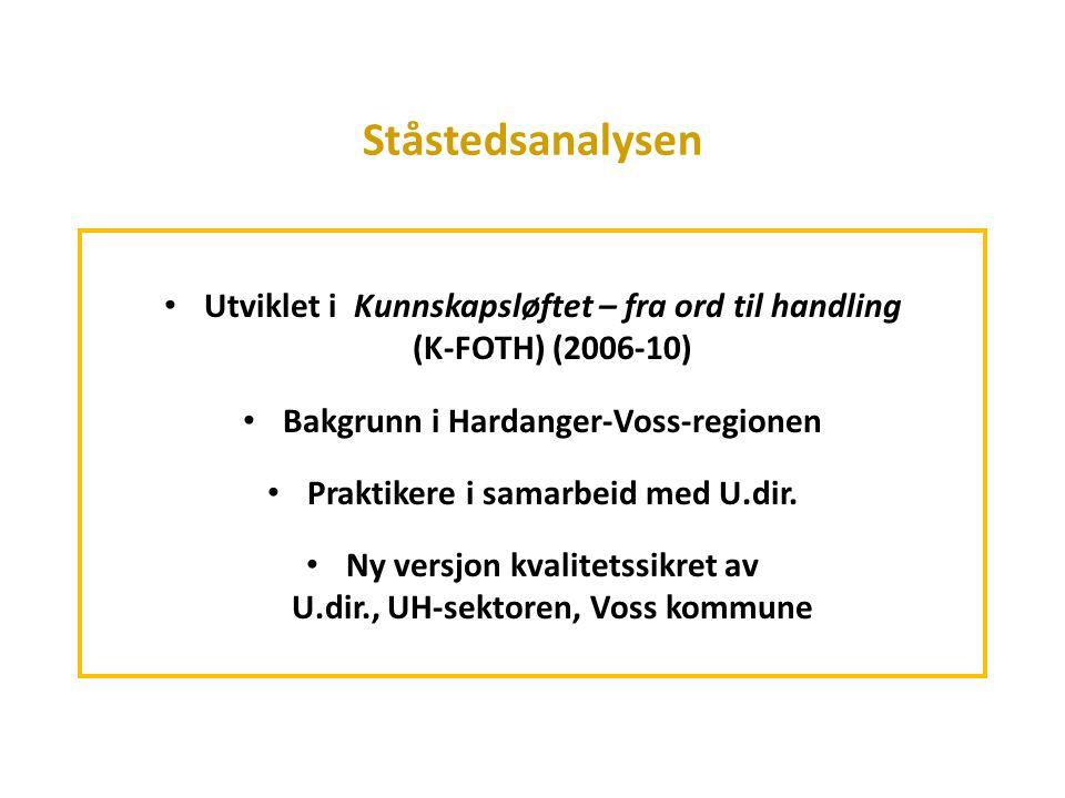 Ståstedsanalysen Utviklet i Kunnskapsløftet – fra ord til handling (K-FOTH) (2006-10) Bakgrunn i Hardanger-Voss-regionen Praktikere i samarbeid med U.